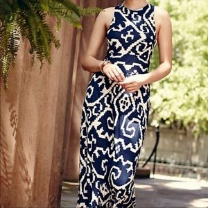Anthropologie Navy Print Maxi Dress